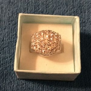 Simulated Diamond Ring in Silver Tone Setting Sz 8